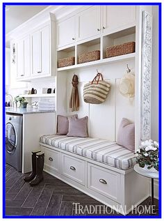 """Discover even more relevant information on """"laundry room storage diy shelves"""". Take a look at our web site. Laundry Room Tables, Mudroom Laundry Room, Laundry Room Shelves, Small Laundry Rooms, Laundry Room Organization, Laundry Room Design, Small Entryway Bench, Entryway Storage, Cubby Storage"""