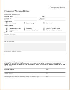 Adams Manufacturing Adams Employee Warning Notice Form  X