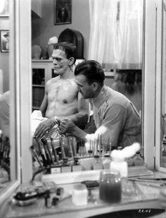 Boris Karloff in the make-up chair, 1931. Amazing.