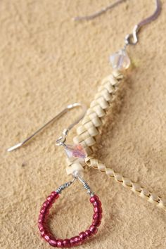 EARRINGS: Native American Beaded with Beargrass  (Pink). $20.00, via Etsy.