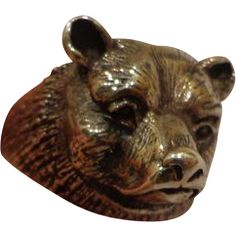 Outstanding Custom Made .900 Silver Men's Grizzly Bear Ring