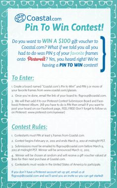 First Pinterest contest i have seen: Coastal you are doing good online marketing. Rules and Details
