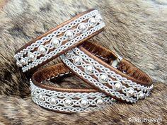 Sami Bracelet YDUN Bronze Lambskin Nordic Tundra Lapland Bracelet with Sterling Silver Beads - Handcrafted Natural Tribal Elegance from Tjekijas Design.
