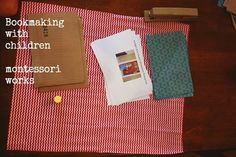 bookmaking with children - montessori works Also could use wallpaper to cover the cardboard which could be a cereal box folded in two. Montessori Activities, Book Activities, Writing Workshop, Writing A Book, Teaching Spanish, Teaching Kids, Homemade Books, Play Based Learning, Practical Life