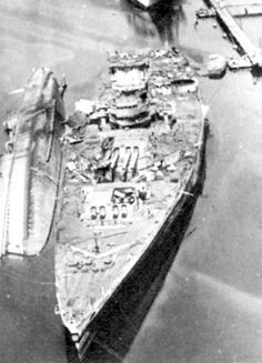 August 1944: Wreck of the Strasbourg at Toulon, France.