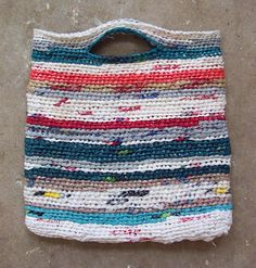 Crocheted reusable grocery bag using... grocery bags!