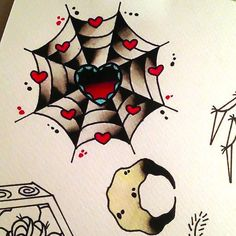Girly Spider Web With Heart Tattoo Design