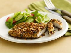 Pecan-Crusted Chicken  Crispy panko bread crumbs and pecans coat chicken breasts that are first dipped in yogurt--they're cooked until crispy and golden.  http://www.bettycrocker.com/recipes/pecan-crusted-chicken/e970f9e9-f261-4453-98c4-e860f4f63ce7#?st=7=yoplait=AND(OR(4294967263))