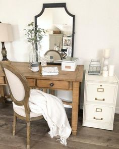 Check out this #farmhouse style home office decor with a vintage desk and cabinet. Love it! #HomeDecorIdeas #HomeOfficeIdeas #FarmhouseStyle @istandarddesign