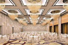 17 Most Impressive Hotel Ballrooms in Jakarta Hall Interior Design, Hall Design, Door Design, Ballroom Design, Gypsum Ceiling Design, Function Hall, Hall Lighting, Home Ceiling, Ballrooms