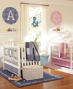 Twins baby room for boy and girl