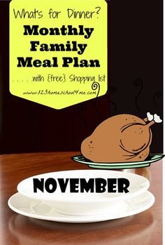 FREE November Family Meal Plan!! ♥♥♥ All your meals planned for you including links to recipes and a FREE printable weekly grocery list!