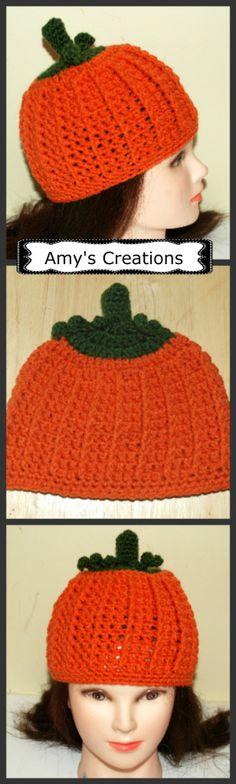 a94c50125b0 Amy s Crochet Creative Creations  Crochet Pumpkin Hat (All Sizes) Crochet  Hat Pattern Kids