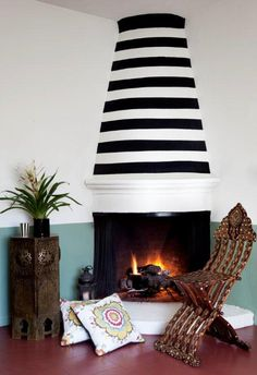 Lovely striped chimney / Martyn Lawrence Bullard Interiors