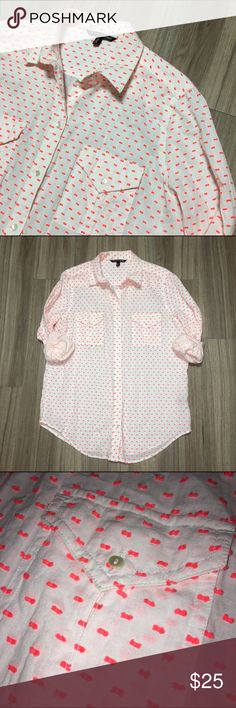 Victoria's Secret Double Pocket Collared Blouse Collared button down with double pockets on front. White Blouse with hot pink dot stitch detailing. Long sleeve with button closure on wrists but can be rolled up for effortless look. Victoria's Secret Tops Button Down Shirts