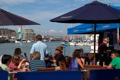 Sipping champagne on the quayside at The Dorset Seafood Festival