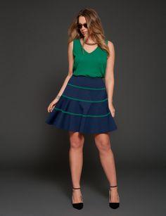 Woven Back Tank & Ponte Stripe Flare Skirt | ELOQUII.com