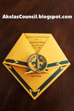 Akela's Council Cub Scout Leader Training: Cub Scout Blue & Gold Banquet Dinner Invitation Printable Ideas that look like Cub Scout Neckerchiefs by Deb Gilbert Cub Scout Law, Cub Scouts Wolf, Beaver Scouts, Tiger Scouts, Scout Mom, Girl Scouts, Cub Scout Games, Cub Scout Activities, Scout Popcorn