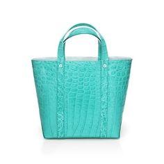 Avenue small tote in Tiffany Blue® crocodile. More colors available.