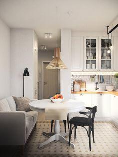 кухня в дизайне однокомнатной квартиры 36 кв. м.