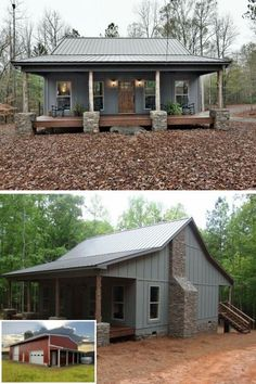 rustic house Ideas farmhouse house country metal buildings for 2019 Rustic House Plans, Small House Plans, Small Rustic House, Small Home Kits, Pole Barn House Plans, Lake House Plans, Cottage House Plans, Rustic Cottage, Country House Plans