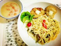 Crisp seaweed wrapped tofu with wasabi mayonnaise sauce, vegetable spaghetti and potato soup