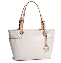 MICHAEL Michael Kors Jet Set Top-Zip Vanilla Tote with Gold-Toned MK Logo Charm!
