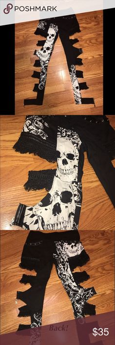 Unique Skull Pants These are the coolest pants ever! Bought on here but unfortunately didn't fit. Tag says size Medium so it would fit a size 5-7 and they're low rise. They're super unique with lace, zippers, and skulls! I love them and hate to let them go! Perfect for any rocker chick or just wanting to add some edge to your look! Hot Topic Pants