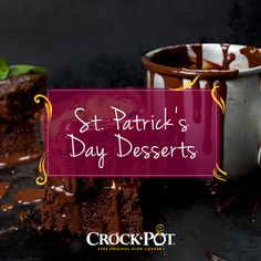 "Indulge for St. Patrick's Day with one of our featured ""Green Desserts"" (including these decadent Irish Cream Brownies). Green Desserts, Slow Cooker Desserts, Creative Desserts, Irish Cream, St Patricks Day, Crockpot Recipes, Crock Pot, Brownies, Dessert Recipes"