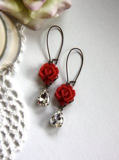 Earrings In Style Red Flowers Earrings. - Beauty in Red - A Red Rose and A Vintage Crystal Glass Jewel Dangle Earrings. Rose Jewelry, Clay Jewelry, Jewelry Crafts, Jewelery, Jewellery Rings, Jewellery Shops, Diamond Jewellery, Silver Jewellery, Beaded Earrings