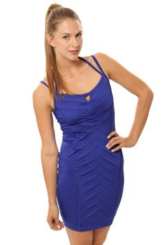Crossover Body Con Dress - Royal Blue