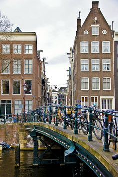 Bridges are cycle parks, Amsterdam, Holland