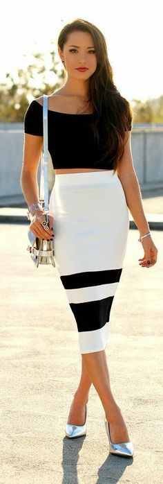 See more Black & White Cropped Top and Pencil Skirt