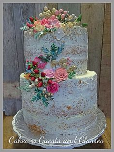 Semi Naked Floral wedding cake. Carina 0823005301. Mpumalanga Lydenburg,Burgersfort, Ohrigstad, Dullstroom, Belfast and Machadodorp
