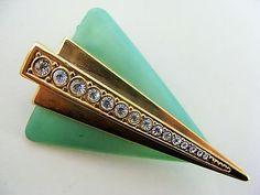 Vintage Jewellery Art Deco Geometric Celluloid & Diamante Brooch / Pin
