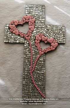 Mosaic Crosses, Wooden Crosses, Crosses Decor, Wall Crosses, Mosaic Crafts, Mosaic Projects, Mosaic Art, Projects To Try, Cross Love