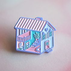 The Pastel Purple Dollhouse Pin is now available! It has raised edges & tiny details. Comes with a card & is ready for gift giving!