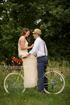 The Ultimate Vintage Engagement Session with green bike - Footsteps Photography, Couple Photographer near RAF