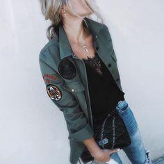 "Heather on Instagram: ""At-ten-tion......military inspired oversized shirt & chain link bag from @zadigetvoltaire #zadigeasyluxury #zadigstyle #zadigetvoltaire"""