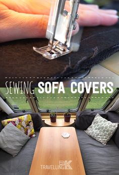 Sofa cover and the curtain updates can really modernise a caravan. An advantage to such a small space – any small alteration complete changes the look of the whole caravan. Travel Trailer Living, Small Travel Trailers, Tiny Trailers, Rv Mods, New Zealand Houses, Diy Rv, Rv Interior, Amazing Decor, Happy Trails