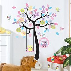 Charming Art Colorful Tree Decals with Hanging Owl, DIY Wall Decor, Pink Owl Wall Sticker, Owl Wallpaper for Kids Room, Reusable Stickers
