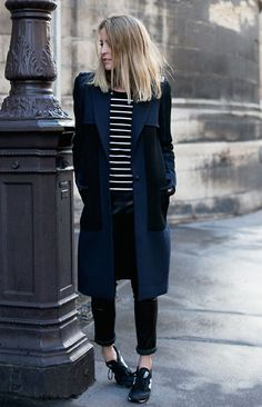 Shop this look on Lookastic:  http://lookastic.com/women/looks/athletic-shoes-skinny-pants-coat-scarf-crew-neck-t-shirt/5725  — Black and White Athletic Shoes  — Black Leather Skinny Pants  — Navy Coat  — Black Cotton Scarf  — Black and White Horizontal Striped Crew-neck T-shirt