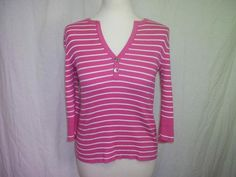 Lauren Ralph Lauren Pink And White Striped Sweater Size PM