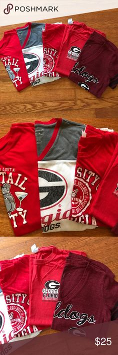 Georgia Bulldogs bundle! 5 Georgia Bulldog shirts in one bundle!!! The sizes very but they all fit like a S/M. Great deal Tops Tees - Short Sleeve