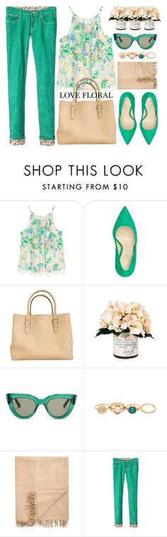 """Floral Tank Spring Summer"" by jiabao-krohn ❤ liked on Polyvore featuring Nine West, Kate Spade, Creative Displays, E L L E R Y, Armand Diradourian, floral, wardrobebasics and pointytoe"
