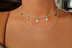 Chain is adjustable. Star Necklace, Silver Stars, Silver Necklaces, Wire Jewelry, Jewelry Accessories, Chokers, Chain, Diamond, Simple