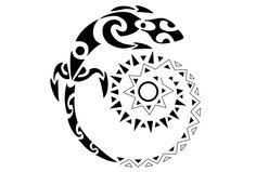 Tribal Spiral Lizard Sun Tattoo | Tattoo Tabatha