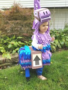 Diy fortnite baby llama This was such a fun costume to make! He even won 2 contests! And was a huge hit with all the kids! Llama Halloween Costume, Llama Costume, Diy Halloween Costumes For Kids, Kids Costumes Boys, Boy Costumes, Family Costumes, Cosplay Costumes, Baby Llama, February 19