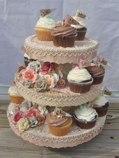 DIY Cupcake stand - only with much cute paper/ribbon