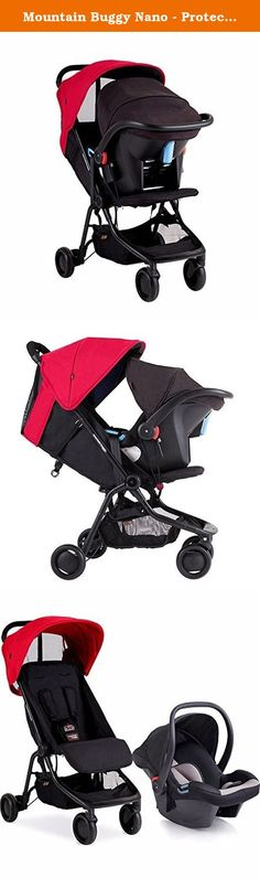 Mountain Buggy Nano - Protect Travel System, Ruby. NANO FEATURES: With the press of 2 buttons, nano simply drops in 2 stages, leaving it the size of a travel satchel. Slide nano into a custom-fit, compact travel bag with and exposed handle, or attach a shoulder strap for easy carry on. Travel system ready: Equipped with an on-board car seat adapter, nano converts to a travel system with the included Protect car seat. Travel easy with your newborn baby in their car seat and nano. Rear…
